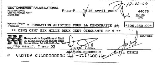 Rébondissement dans le scandale financier de  Lavalas - Page 2 Check%20for%20Fondation%20pour%20la%20Democratie