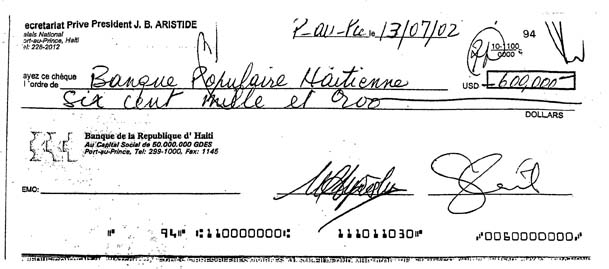 Check from account of Aristide