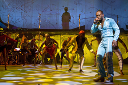 Sahr Ngaujah as Fela, with dancers, photo Monique Carboni