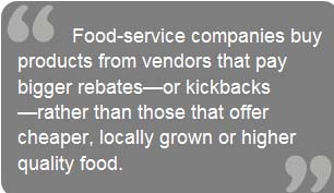 rebates rather than cheaper, local, better food
