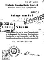 Visa from Lucy Komisar's Stasi file