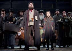 Robert Petkoff as Tateh, Sarah Rosenthal as his daughter, and other immigrants, photo Joan Marcus