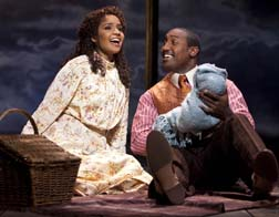 Stephanie Umoh as Sarah, Quentin Earl Darrington as Coalhouse, photo Joan Marcus