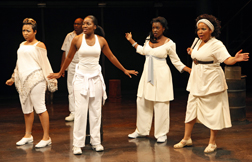 Nikiya Mathis, Kianne Muschett, Heather Alicia Simms, and Kimberly Hebert Gregory in 'In the Red and Brown Water,' photo Joan Marcus