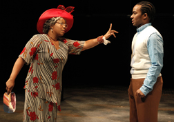 Kimberly Hebert Gregory as Aunt Elegua and Andre Holland as Marcus in 'Marcus; or the Secret of Sweet,' photo Joan Marcus